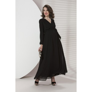 Crossed Collar Long Arm Pregnant Evening Dress