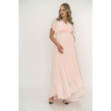 Double Breasted Collar Bolero Sleeve Maxi Baby Shower Dress