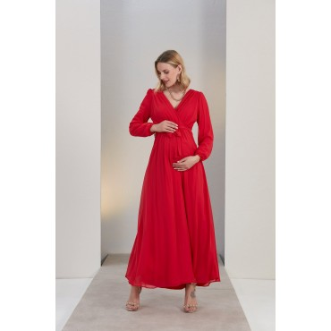Double Breasted Chiffon Sash Baby Shower Maxi Maternity Dress