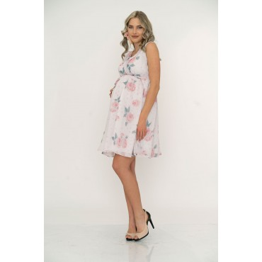 Double Breasted Collar Rose Pattern Maternity Dress