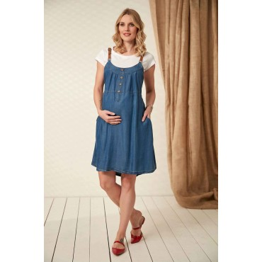 Tencel Mini Maternity Dress With Leather Strap