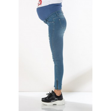 Zippered Leg Ripped Maternity Jeans