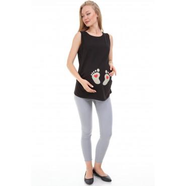 Heart Foot Print Maternity T-Shirt