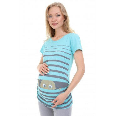 Striped Caring Baby Short Sleeve Pregnant T-Shirt