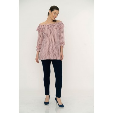 Double Pleat Boat Neck Maternity Blouse