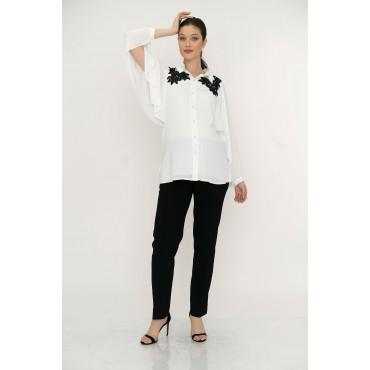 Lace Collar Crep Chiffon Maternity Shirt