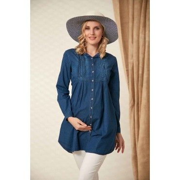 Ribbed Collar Pregnant Denim Shirt