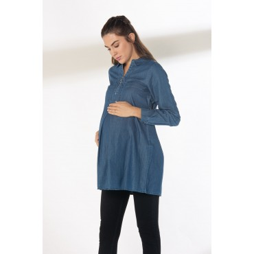 Zipper Detail Breastfeeding Maternity Denim Shirt