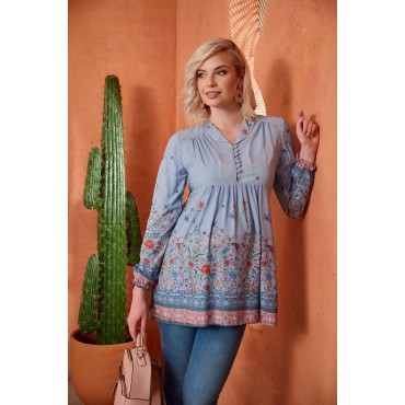 Pearly Sequence Button Maternity Chiffon Tunic