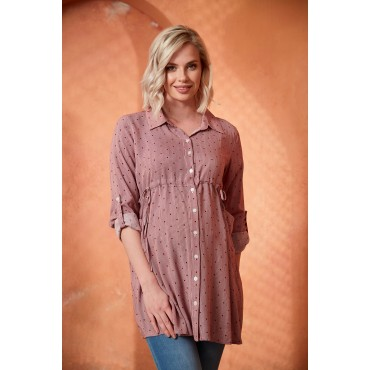 Side Binding Maternity Shirt With Viscose Points