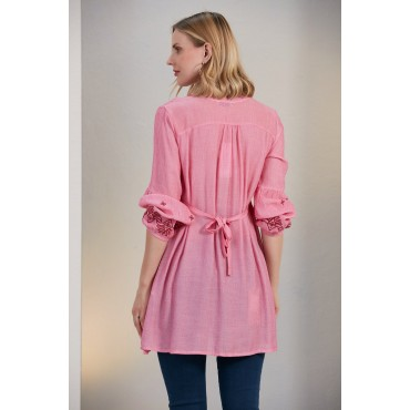 Embroidery Sleeve Judge Collar Maternity Tunic