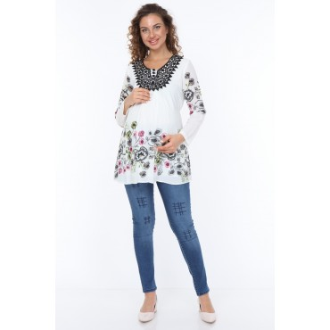 Lace Collar Crepe Maternity Blouse