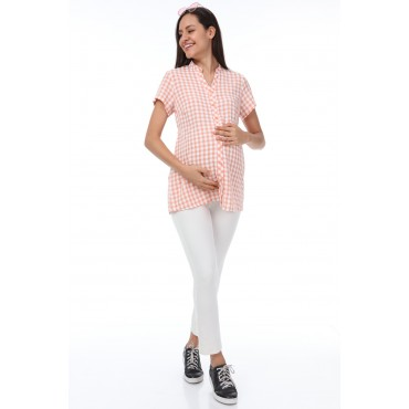 Mini Square Viscose Judge Collar Pregnant Shirt