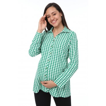 Mini Square Viscose Polo Collar Pregnant Shirt