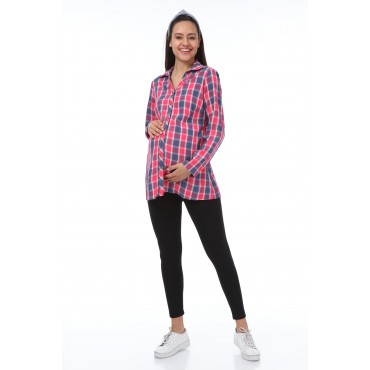 Colorful Square Polo Neck Cotton Maternity Shirt