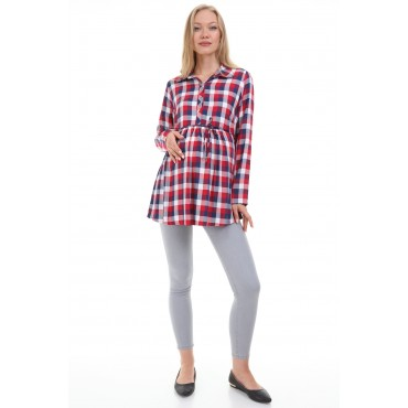 Cotton Plaid Breastfeeding Maternity Shirt