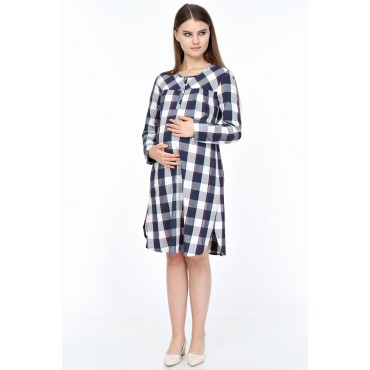 Viscose Plaid Breastfeeding Maternity Tunic