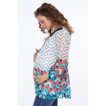 Geometric Pattern Trojan Sleeve Sleeve Maternity Chiffon Blouse
