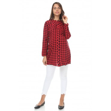 Line Plaid Viscose Maternity Tunic