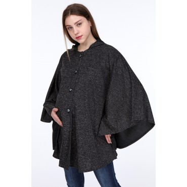Steel Knit Hooded Maternity Poncho