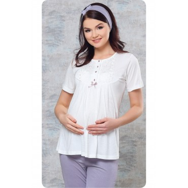 Tulle Collar 3-Piece Set Maternity-Maternity Pajamas Set