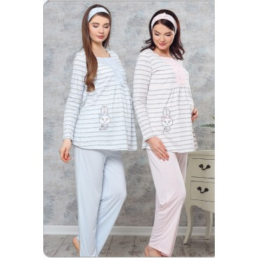 Sports Striped Breastfeeding Maternity-Maternity Pajamas Set