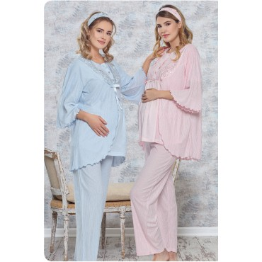 Guipure Collar Maternity-Maternity Pajamas Set 3 Pieces