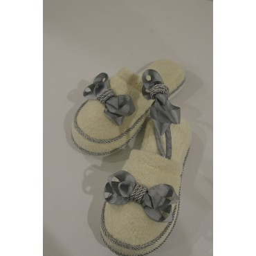 Silvery Rope Grosgrain Ribbon Maternity Slipper-Crown Set