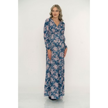 Double Breasted Rose Pattern Crep Maxi Maternity Dress