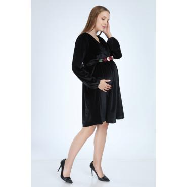 Double Breasted Collar Peony Belt Velvet Mini Maternity Dress