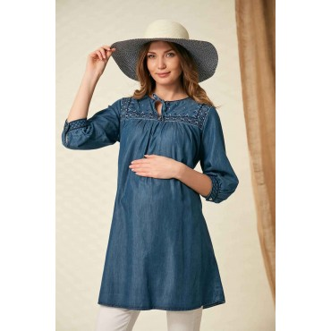 Tie Embroidery Collar Maternity Jeans Tunic