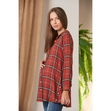 Side Button Sport Plaid Maternity Shirt