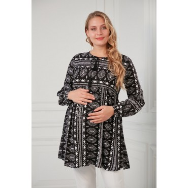 Authentic Pattern Collar Tied Maternity Viscose Tunic