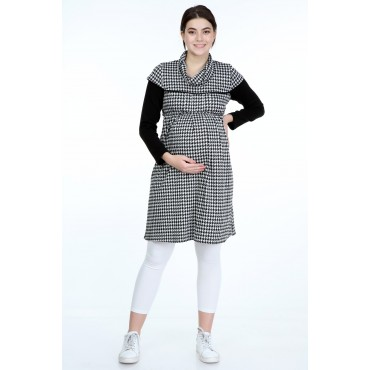 Crowbar Pattern Viscose Knit Maternity Tunic