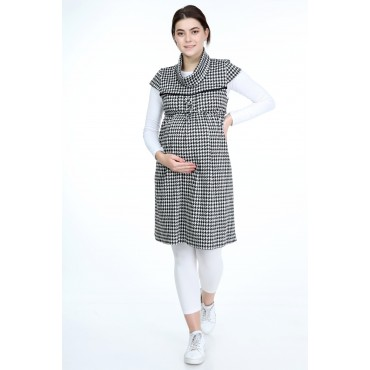 Viscose Knit Crowbar Maternity Cheeky Collar Gilet-Tunic