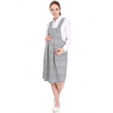 Hokka Color Plaid Mini Maternity Office Overalls Dress