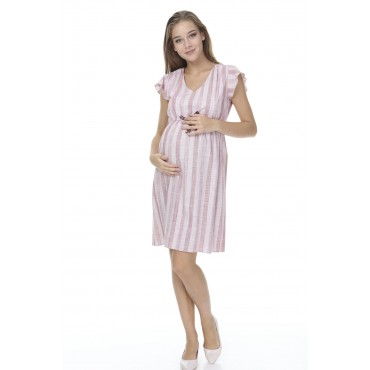 Colorful Cotton Striped Maternity Sports Dress