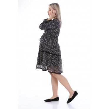 Gathered Lace Chiffon Maternity Wear Tunic