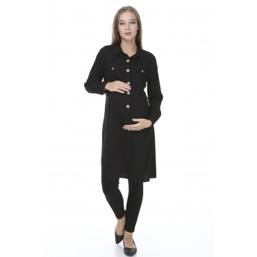 Viscose Lactating Wooden Button Maternity Tunic-Shirt