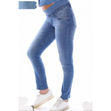 Belly Flexible Ribbed Piping Maternity Jeans