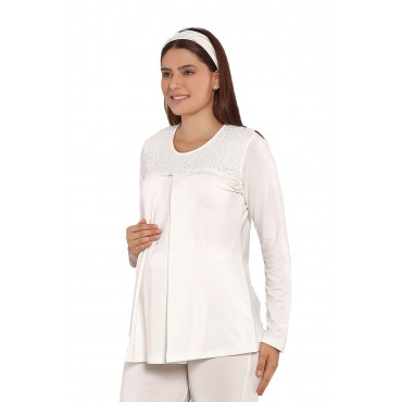 Guipure Collar Pregnant-Maternity 2 Pieces Pajamas Set