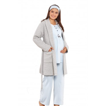 Geometric Stitch Maternity-Maternity Pajamas Set