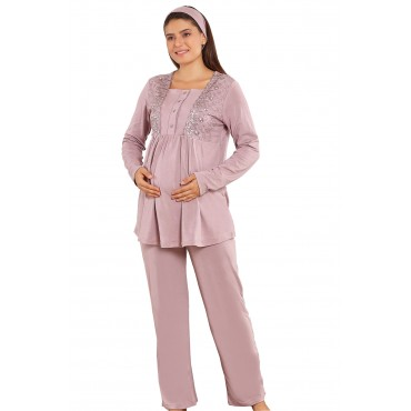 Geometric Pattern Plush Maternity 3 Pcs Pajamas-Maternity Set