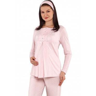 Embroidery Collar Double Suit Maternity-Maternity Pajamas Suit