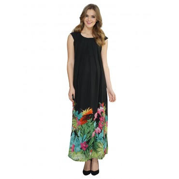 Pregnant Long Chiffon Dress with Floral Pattern