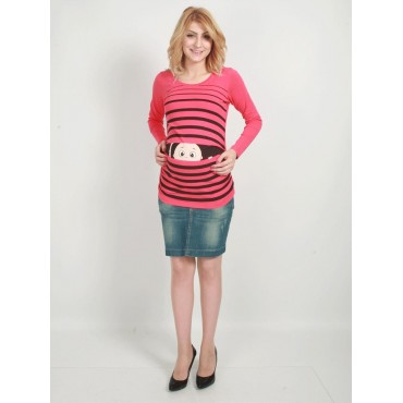 Maternity Clothes Baby T-shirt Striped Ministers