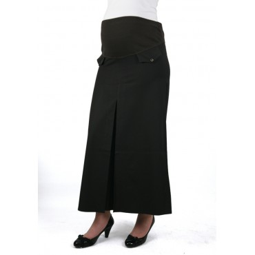 Button Pockets Pleated Skirts Maternity Clothes