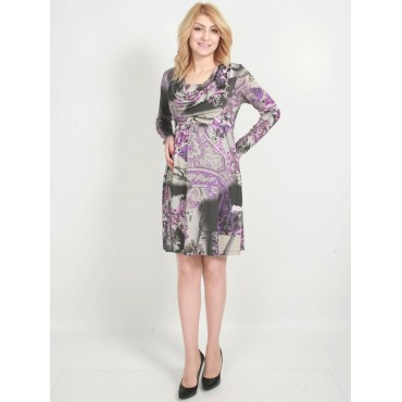 Maternity Wear a funnel collar Patterned Dress
