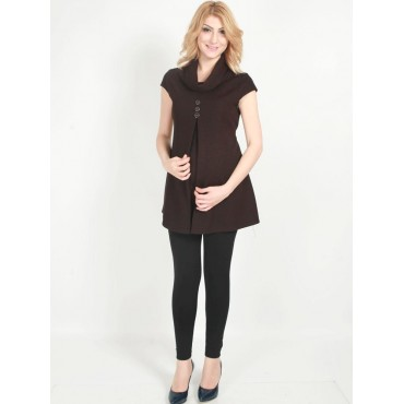 Maternity Clothes Funnel Sandy Neck Tunic